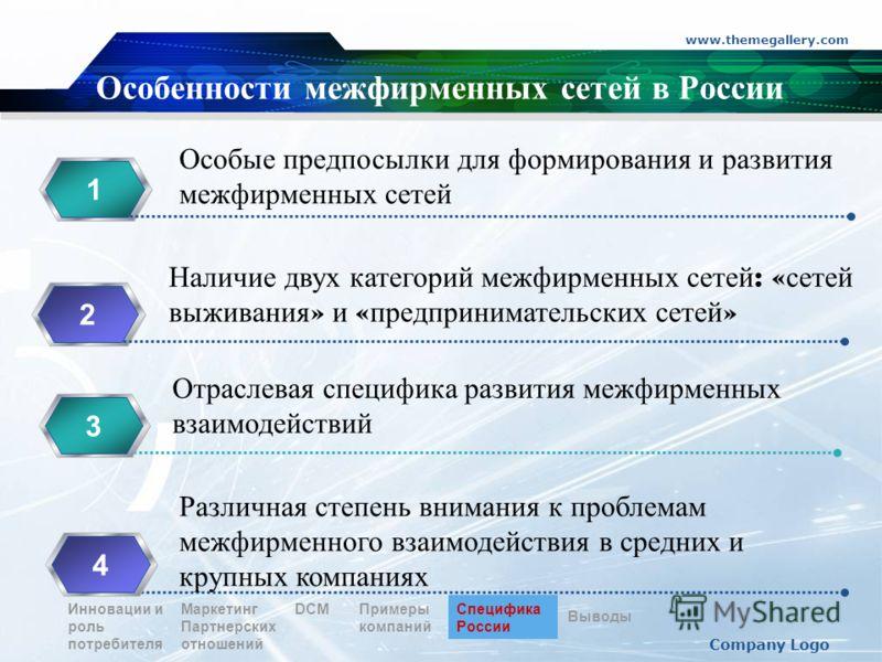 www.themegallery.com Company Logo Особенности межфирменных сетей в России 12 3344 Особые предпосылки для формирования и развития межфирменных сетей Наличие двух категорий межфирменных сетей : « сетей выживания » и « предпринимательских сетей » Отрасл