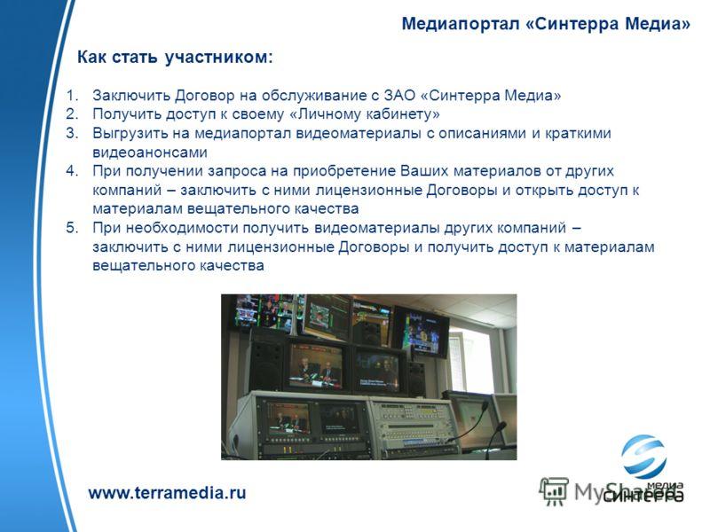 Медиапортал «Синтерра Медиа» www.terramedia.ru Как стать участником: 1.Заключить Договор на обслуживание с ЗАО «Синтерра Медиа» 2.Получить доступ к своему «Личному кабинету» 3.Выгрузить на медиапортал видеоматериалы с описаниями и краткими видеоанонс