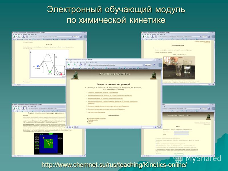 Электронный обучающий модуль по химической кинетике http://www.chemnet.su/rus/teaching/Kinetics-online/