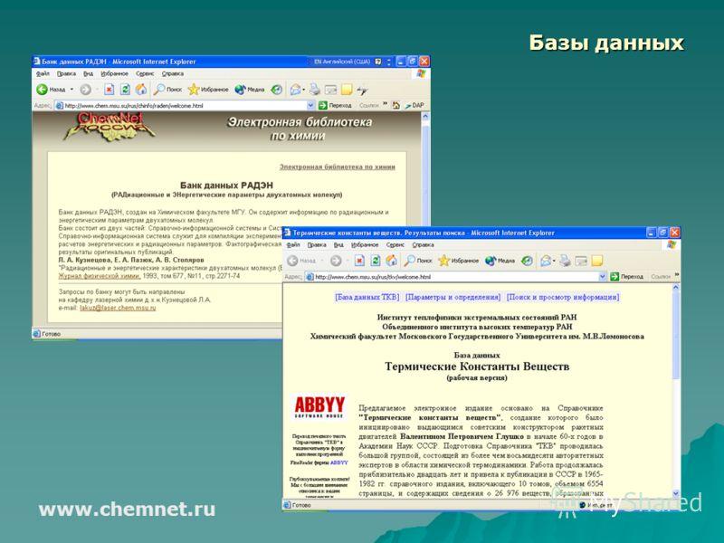 Базы данных www.chemnet.ru