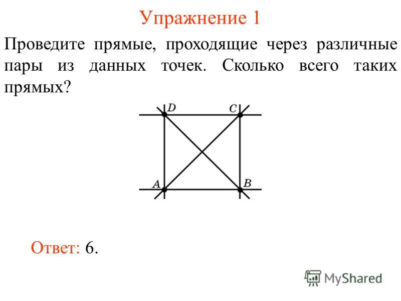 Упражнение 1 Проведите прямые, проходящие через различные пары из данных точек. Сколько всего таких прямых? Ответ: 6.