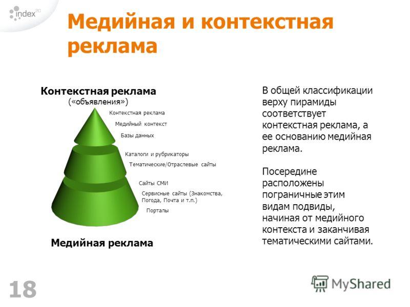 18 Медийная и контекстная реклама В общей классификации верху пирамиды соответствует контекстная реклама, а ее основанию медийная реклама. Посередине расположены пограничные этим видам подвиды, начиная от медийного контекста и заканчивая тематическим