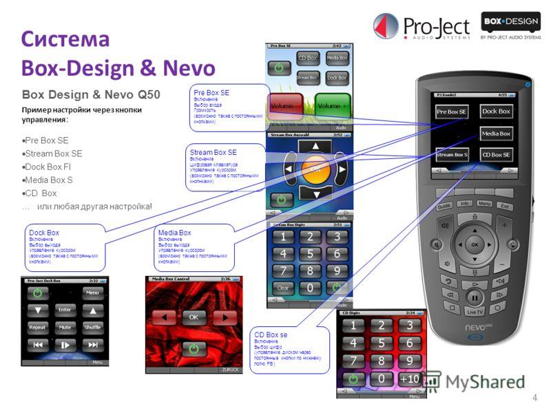 4 Система Box-Design & Nevo Box Design & Nevo Q50 Пример настройки через кнопки управления : Pre Box SE Stream Box SE Dock Box FI Media Box S CD Box … или любая другая настройка! Pre Box SE Включение Выбор входа Громкость (возможно также с постоянным