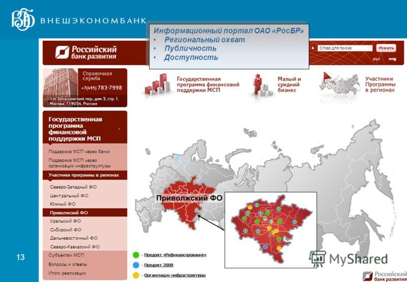 13 Информационный портал ОАО «РосБР» Региональный охват Публичность Доступность Информационный портал ОАО «РосБР» Региональный охват Публичность Доступность