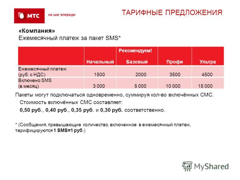7 ТАРИФНЫЕ ПРЕДЛОЖЕНИЯ «Компания» Ежемесячный платеж за пакет SMS* Начальный Рекомендуем! БазовыйПрофиУльтра Ежемесячный платеж (руб. с НДС)1500200035004500 Включено SMS (в месяц)3 0005 00010 00015 000 Пакеты могут подключаться одновременно, суммируя