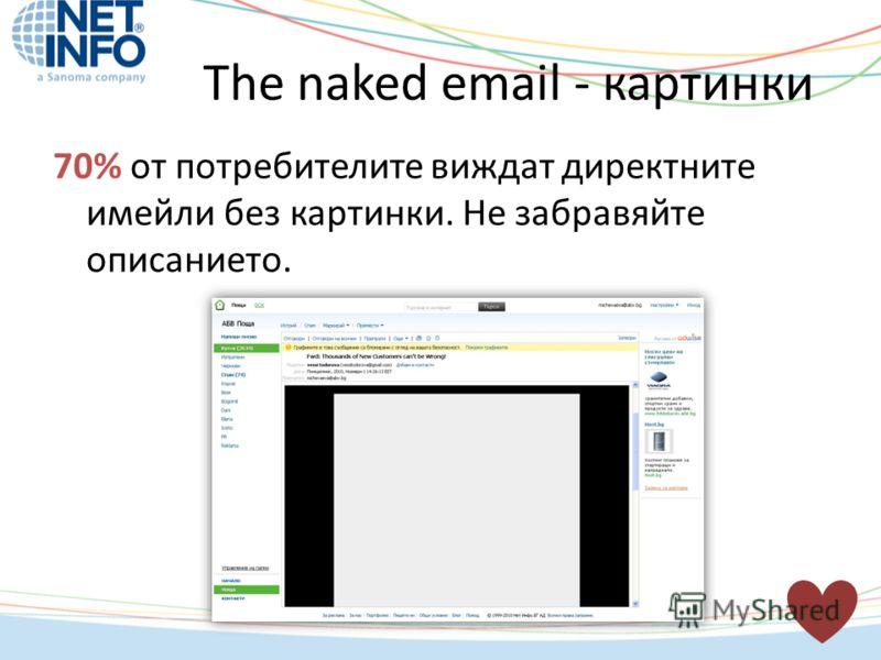 70% от потребителите виждат директните имейли без картинки. Не забравяйте описанието. The naked email - картинки