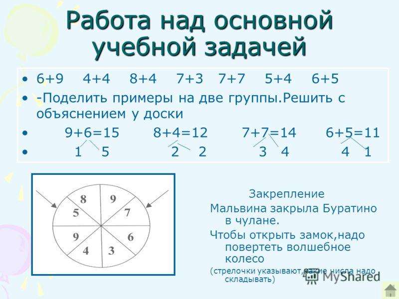 Работа над основной учебной задачей 6+9 4+4 8+4 7+3 7+7 5+4 6+5 -Поделить примеры на две группы.Решить с объяснением у доски 9+6=15 8+4=12 7+7=14 6+5=11 1 5 2 2 3 4 4 1 Закрепление Мальвина закрыла Буратино в чулане. Чтобы открыть замок,надо повертет