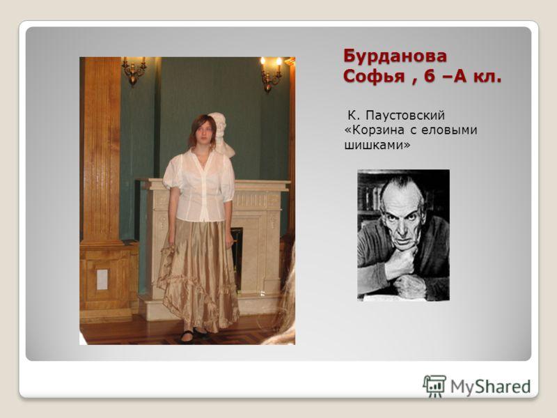 Бурданова Софья, 6 –А кл. К. Паустовский «Корзина с еловыми шишками»