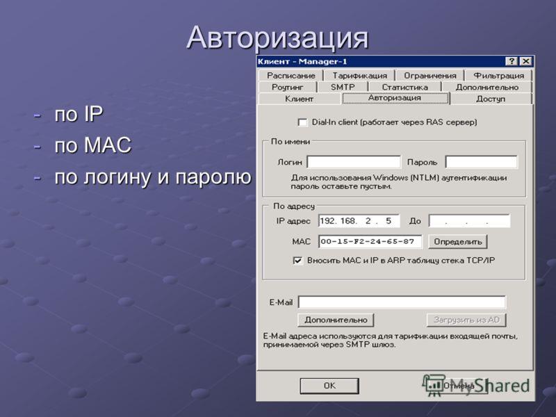 Авторизация -по IP -по MAC -по логину и паролю