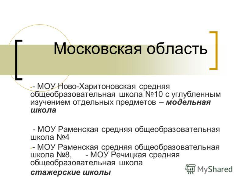 Московская область - - МОУ Ново-Харитоновская средняя общеобразовательная школа 10 с углубленным изучением отдельных предметов – модельная школа - МОУ Раменская средняя общеобразовательная школа 4 - - МОУ Раменская средняя общеобразовательная школа 8