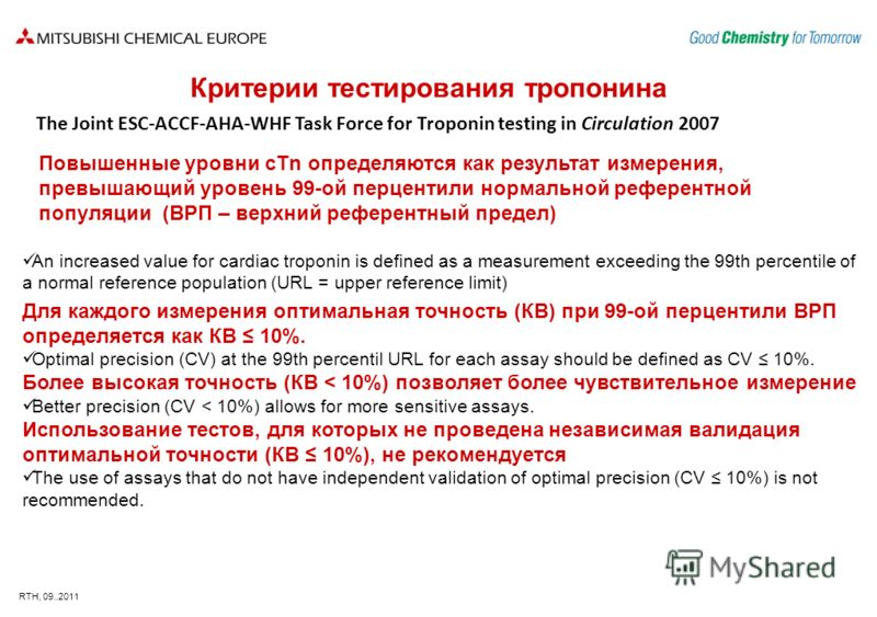 RTH, 09..2011 An increased value for cardiac troponin is defined as a measurement exceeding the 99th percentile of a normal reference population (URL = upper reference limit) Для каждого измерения оптимальная точность (КВ) при 99-ой перцентили ВРП оп