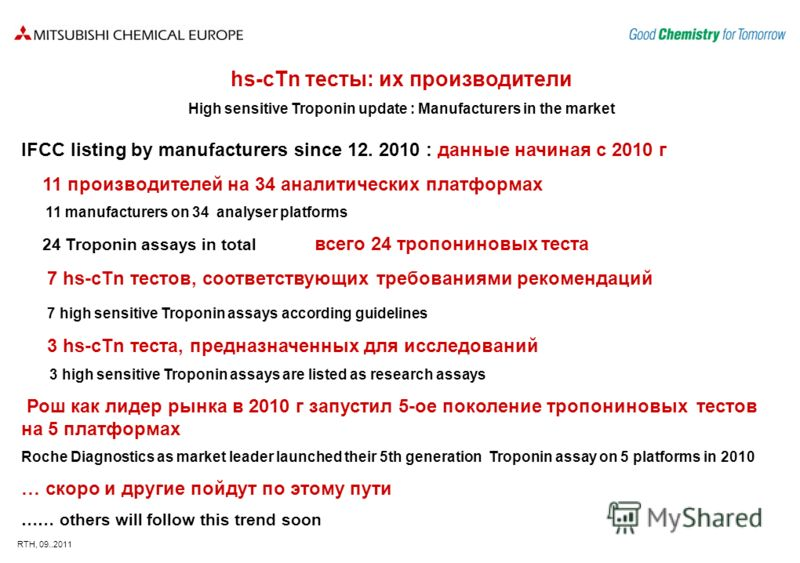 RTH, 09..2011 hs-сTn тесты: их производители High sensitive Troponin update : Manufacturers in the market IFCC listing by manufacturers since 12. 2010 : данные начиная с 2010 г 11 производителей на 34 аналитических платформах 11 manufacturers on 34 a