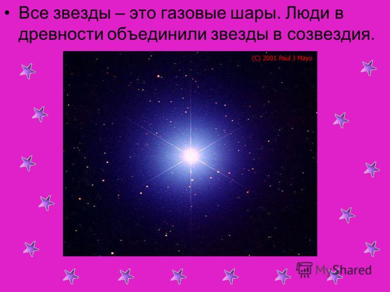 Все звезды – это газовые шары. Люди в древности объединили звезды в созвездия.