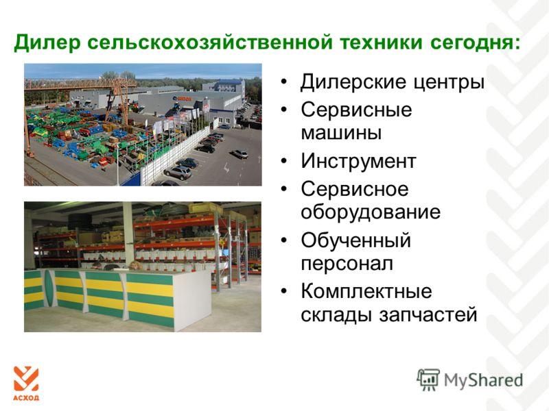 Дилер сельскохозяйственной техники сегодня: Дилерские центры Сервисные машины Инструмент Сервисное оборудование Обученный персонал Комплектные склады запчастей