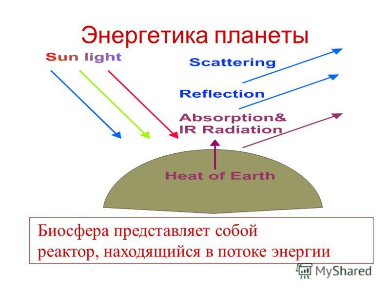 Энергетика планеты Биосфера представляет собой реактор, находящийся в потоке энергии