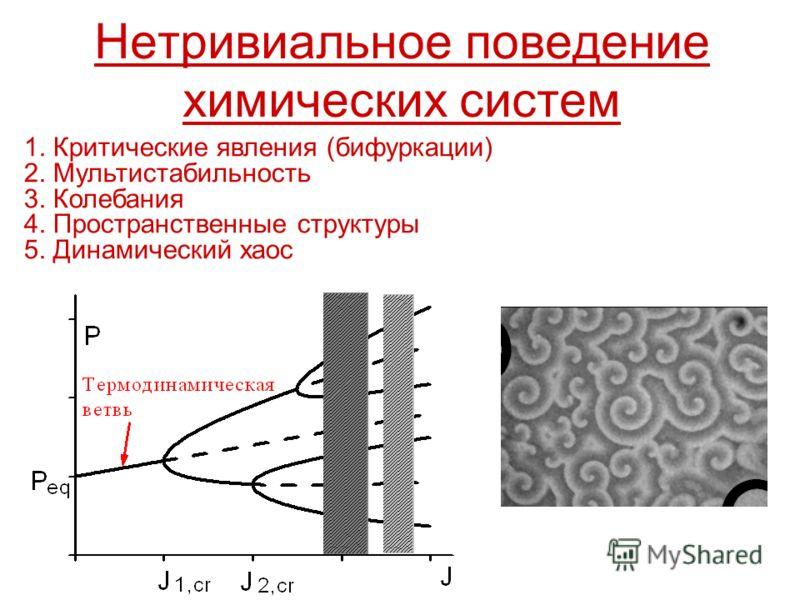 Нетривиальное поведение химических систем 1. Критические явления (бифуркации) 2. Мультистабильность 3. Колебания 4. Пространственные структуры 5. Динамический хаос