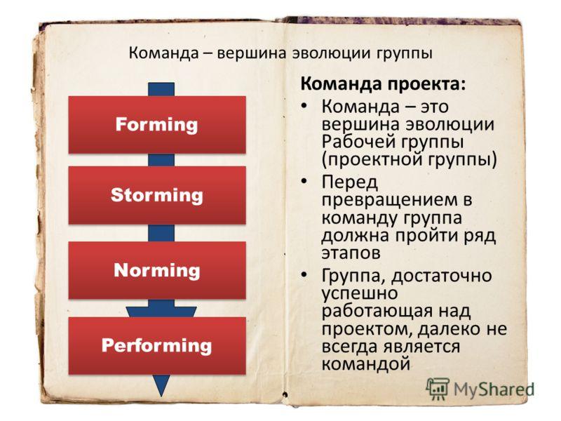 Команда – вершина эволюции группы Команда проекта: Команда – это вершина эволюции Рабочей группы (проектной группы) Перед превращением в команду группа должна пройти ряд этапов Группа, достаточно успешно работающая над проектом, далеко не всегда явля