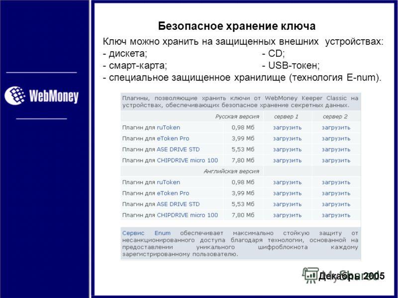 Декабрь 2005 Безопасное хранение ключа Ключ можно хранить на защищенных внешних устройствах: - дискета;- CD; - смарт-карта;- USB-токен; - специальное защищенное хранилище (технология E-num).