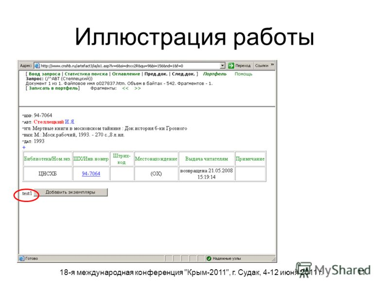 18-я международная конференция Крым-2011, г. Судак, 4-12 июня 2011 г. 11 Иллюстрация работы