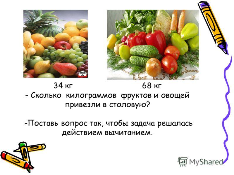 34 кг 68 кг - Сколько килограммов фруктов и овощей привезли в столовую? -Поставь вопрос так, чтобы задача решалась действием вычитанием.