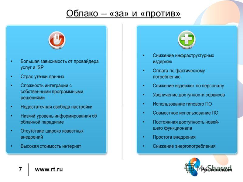 www.rt.ru 7 Облако – «за» и «против»