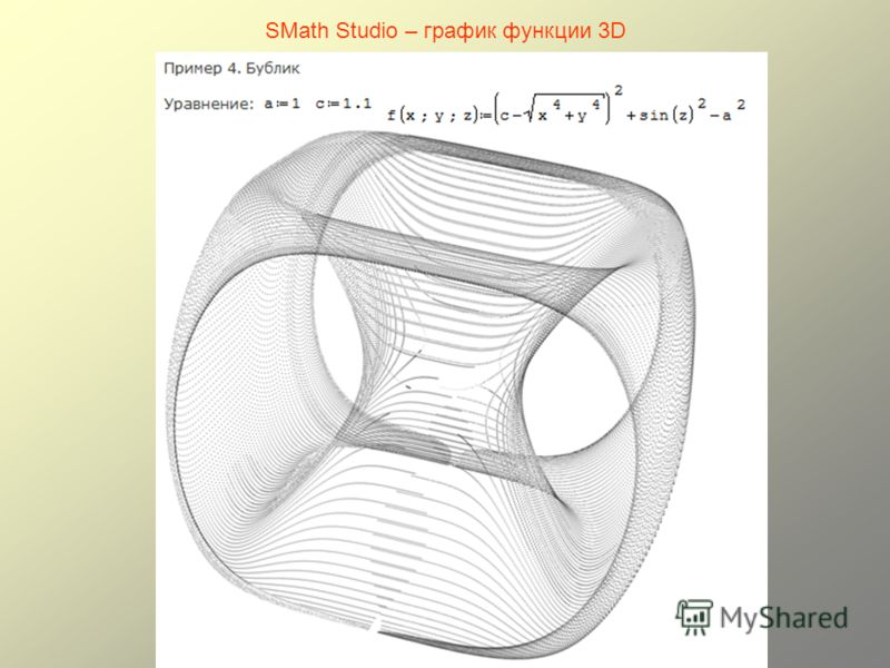 SMath Studio – график функции 3D