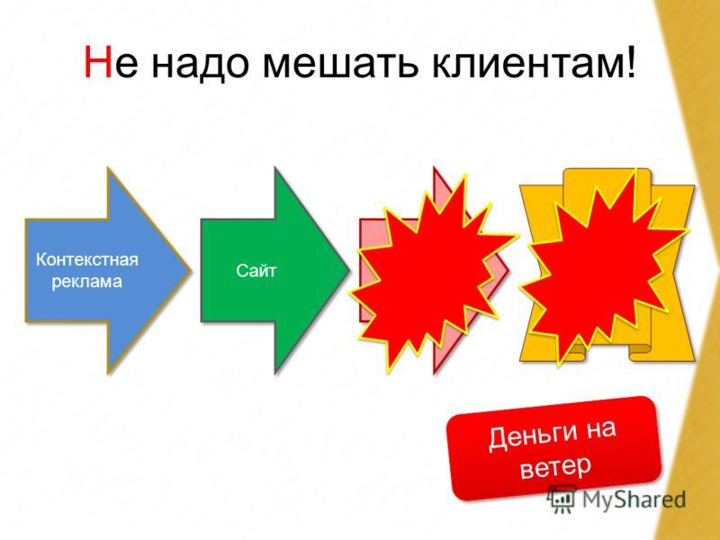 Не надо мешать клиентам! Контекстная реклама Сайт Контакт продажа Деньги на ветер
