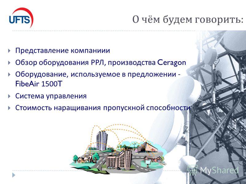 О чём будем говорить : Представление компаниии Обзор оборудования РРЛ, производства Ceragon Оборудование, используемое в предложении - FibeAir 1500T Система управления Стоимость наращивания пропускной способности