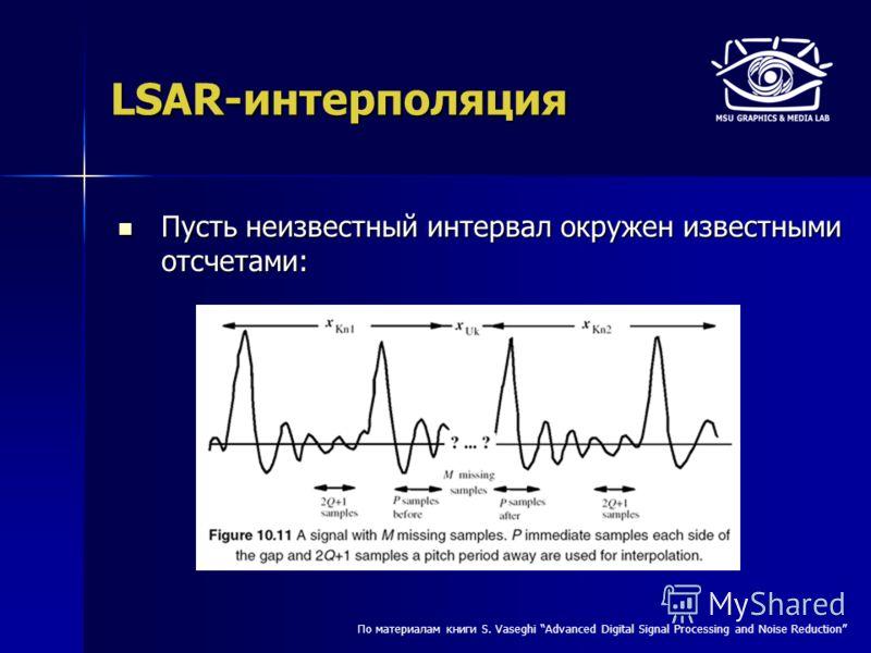 LSAR-интерполяция Пусть неизвестный интервал окружен известными отсчетами: Пусть неизвестный интервал окружен известными отсчетами: По материалам книги S. Vaseghi Advanced Digital Signal Processing and Noise Reduction