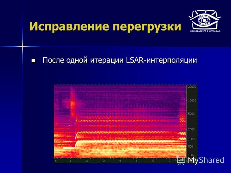 Исправление перегрузки После одной итерации LSAR-интерполяции После одной итерации LSAR-интерполяции
