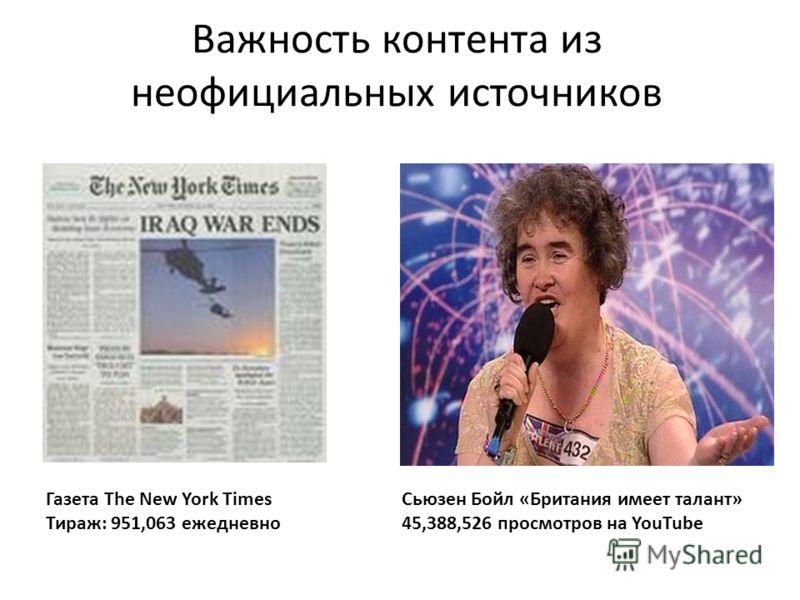 Важность контента из неофициальных источников Сьюзен Бойл «Британия имеет талант» 45,388,526 просмотров на YouTube Газета The New York Times Тираж: 951,063 ежедневно