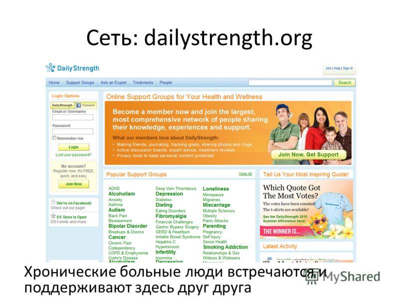 Сеть: dailystrength.org Хронические больные люди встречаются и поддерживают здесь друг друга