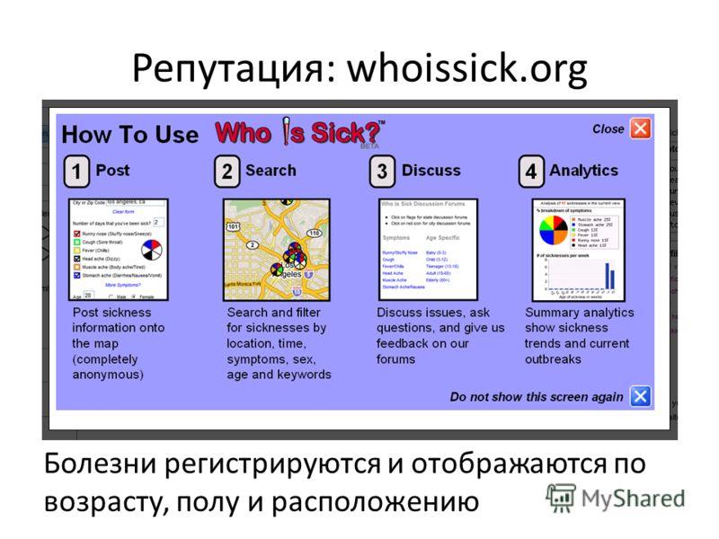 Репутация: whoissick.org Болезни регистрируются и отображаются по возрасту, полу и расположению
