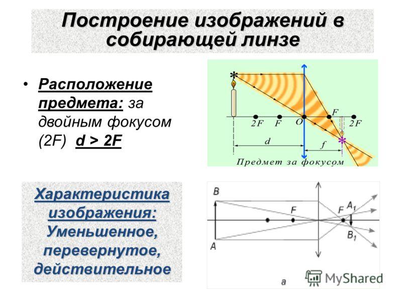 Построение изображений в собирающей линзе Расположение предмета: за двойным фокусом (2F) d > 2F Характеристика изображения: Уменьшенное,перевернутое,действительное