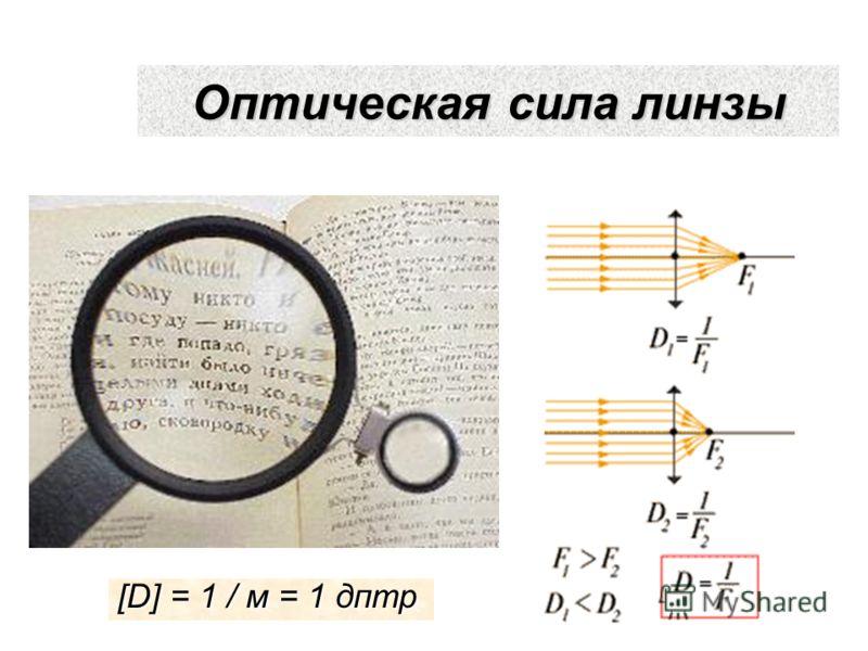 Оптическая сила линзы [D] = 1 / м = 1 дптр