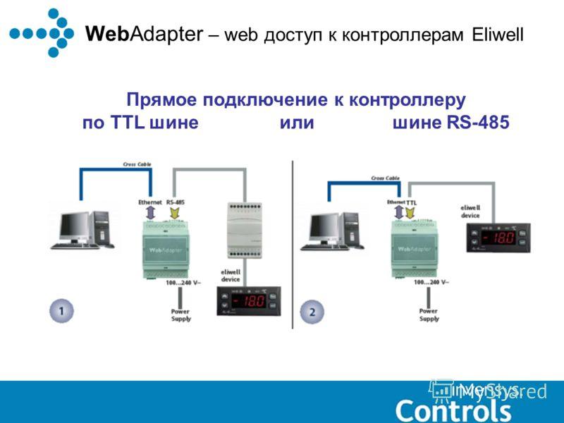 WebAdapter – web доступ к контроллерам Eliwell Прямое подключение к контроллеру по TTL шине или шине RS-485