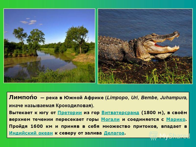 Лимпо́по река в Южной Африке (Limpopo, Uri, Bembe, Juhampura, иначе называемая Крокодиловая). Вытекает к югу от Претории из гор Витватерсранд (1800 м), в своём верхнем течении пересекает горы Могали и соединяется с Марико. Пройдя 1600 км и приняв в с