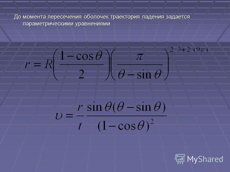 До момента пересечения оболочек траектория падения задается параметрическими уравнениями