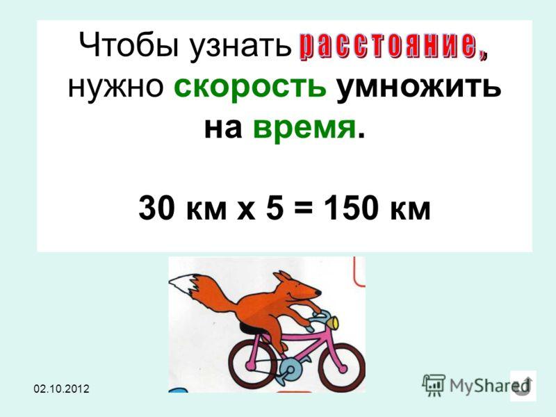 Чтобы узнать, нужно скорость умножить на время. 30 км х 5 = 150 км