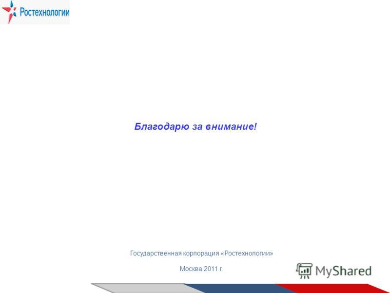 Государственная корпорация «Ростехнологии» Москва 2011 г. Благодарю за внимание!