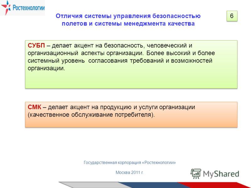 Государственная корпорация «Ростехнологии» Москва 2011 г. Отличия системы управления безопасностью полетов и системы менеджмента качества 6 6 СУБП – делает акцент на безопасность, человеческий и организационный аспекты организации. Более высокий и бо