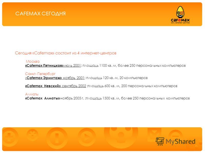 Предоставление услуг публичного доступа в Интернет через сеть интернет-центров «Cafemax» Сегодня «Cafemax» состоит из 4 интернет-центров Москва «Cafemax Пятницкая» июль 2001: площадь 1100 кв. м, более 250 персональных компьютеров Санкт- Петербург « C