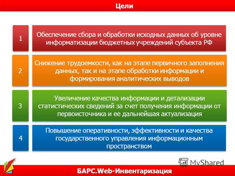 БАРС.Web-Инвентаризация Цели 1 1 Обеспечение сбора и обработки исходных данных об уровне информатизации бюджетных учреждений субъекта РФ 2 2 Снижение трудоемкости, как на этапе первичного заполнения данных, так и на этапе обработки информации и форми