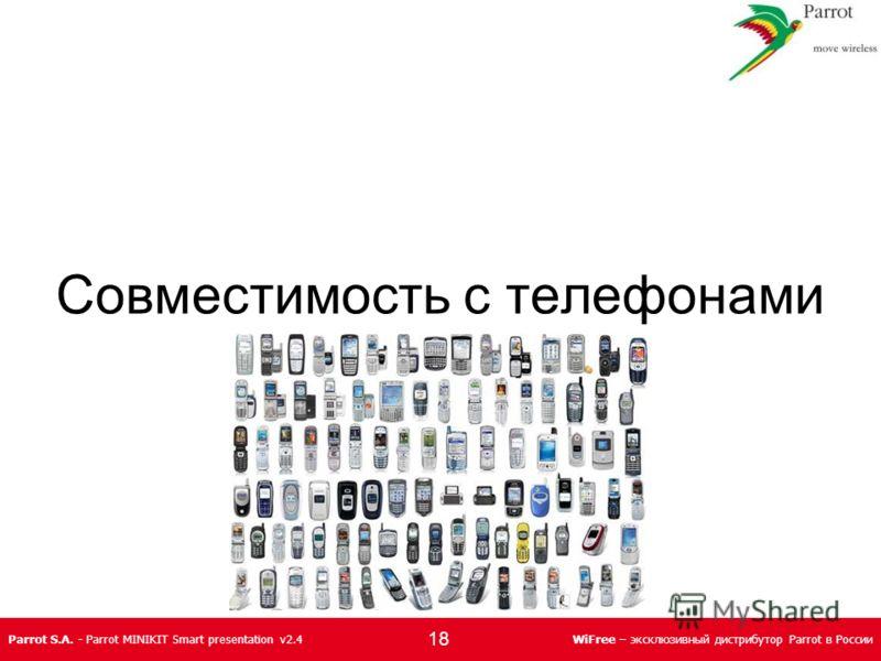 Parrot S.A. - Parrot MINIKIT Smart presentation v2.4WiFree – эксклюзивный дистрибутор Parrot в России Совместимость с телефонами 18