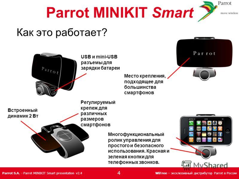 Parrot S.A. - Parrot MINIKIT Smart presentation v2.4WiFree – эксклюзивный дистрибутор Parrot в России USB и mini-USB разъемы для зарядки батареи Место крепления, подходящее для большинства смартфонов Регулируемый крепеж для различных размеров смартфо