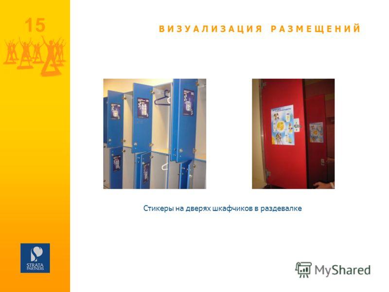 Стикеры на дверях шкафчиков в раздевалке 15 ВИЗУАЛИЗАЦИЯ РАЗМЕЩЕНИЙ