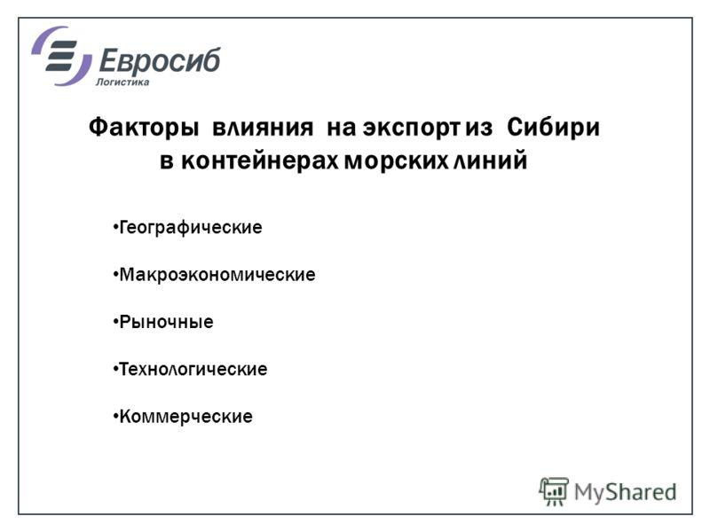 Факторы влияния на экспорт из Сибири в контейнерах морских линий Географические Макроэкономические Рыночные Технологические Коммерческие