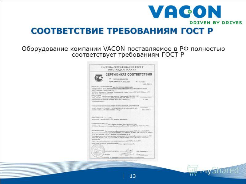 13 СООТВЕТСТВИЕ ТРЕБОВАНИЯМ ГОСТ Р Оборудование компании VACON поставляемое в РФ полностью соответствует требованиям ГОСТ Р
