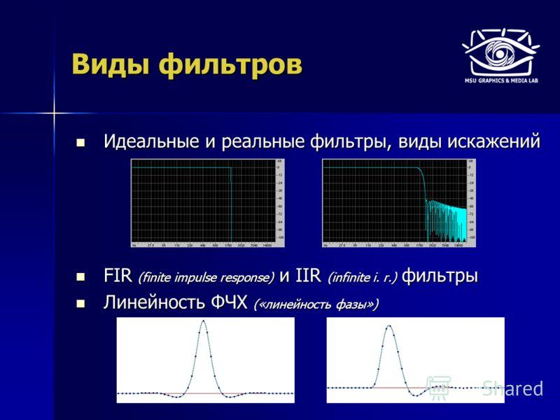 Виды фильтров Идеальные и реальные фильтры, виды искажений Идеальные и реальные фильтры, виды искажений FIR (finite impulse response) и IIR (infinite i. r.) фильтры FIR (finite impulse response) и IIR (infinite i. r.) фильтры Линейность ФЧХ («линейно