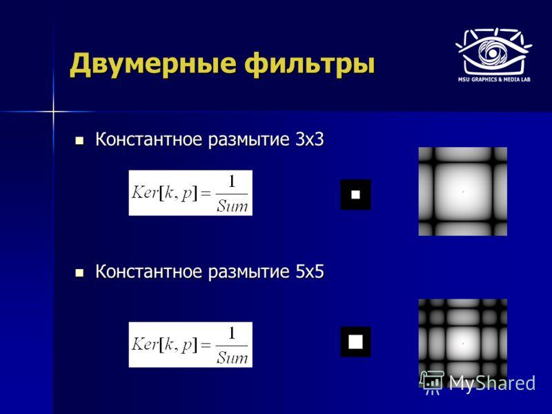 Константное размытие 3х3 Константное размытие 3х3 Константное размытие 5х5 Константное размытие 5х5 Двумерные фильтры